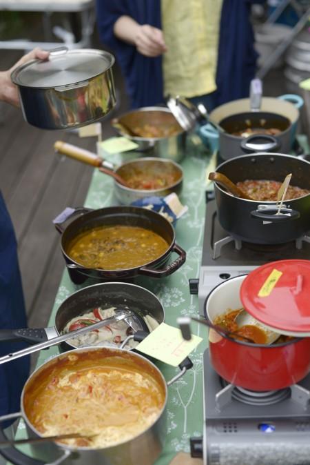 バターチキンカレー、豚汁カレー、豆カレー2種、キーマカレー2種、グリーンカレー、辛くないお子様カレー、ポークカレー、エビカレーの9種類。